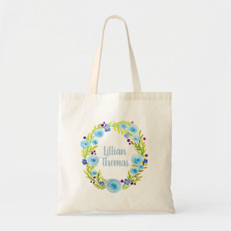Baby Girl's Blue Watercolor Flower Wreath and Name Tote Bag