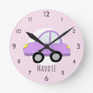 Baby Girl's Doodle Pink Car Vehicle Nursery Round Clock