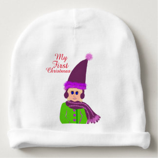Baby Girls First Christmas Plum Hat Green Coat Baby Beanie
