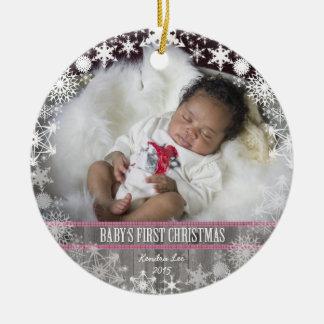 Baby girls First Christmas Round Ceramic Decoration