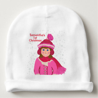 Baby Girls First Christmas Snowfall Baby Beanie