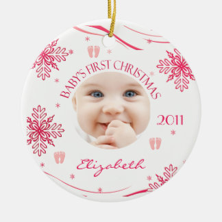 Baby Girl's First Christmas Snowflake Photo Orname Ceramic Ornament