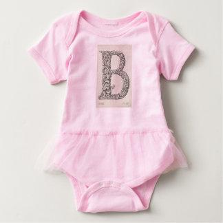 Baby Girl's Letter 'B' Ballerina Tutu Baby Bodysuit