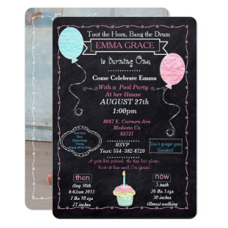 Baby Girls One year Party Invitation