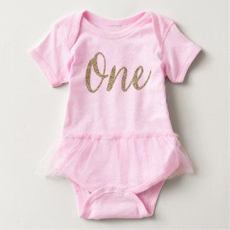 Baby Girl's Pink Birthday Tutu Baby Bodysuit