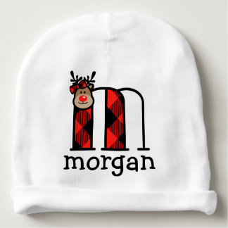 Baby Girls Reindeer Christmas Hat Plaid monogram m Baby Beanie