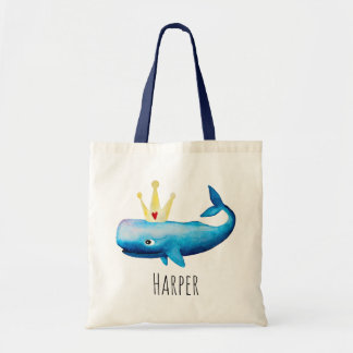 Baby Girl's Watercolor Princess Whale and Name Tote Bag