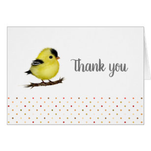 Baby Goldfinch Bird Thank You Note Cards