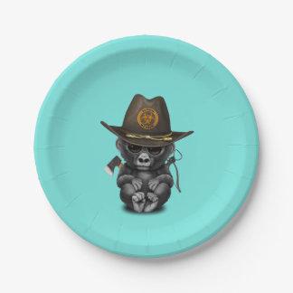 Baby Gorilla Zombie Hunter 7 Inch Paper Plate