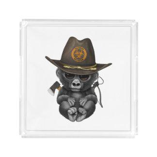 Baby Gorilla Zombie Hunter Acrylic Tray