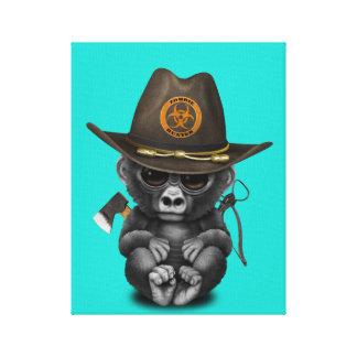 Baby Gorilla Zombie Hunter Canvas Print