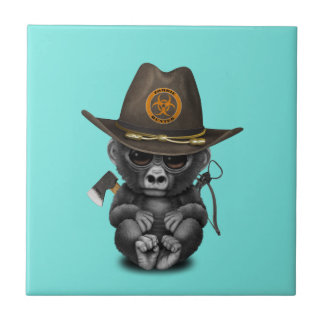 Baby Gorilla Zombie Hunter Ceramic Tile