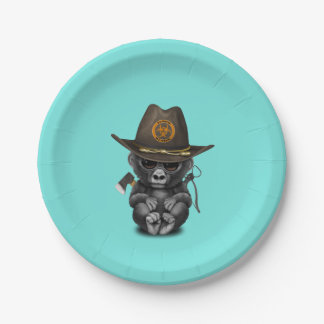 Baby Gorilla Zombie Hunter Paper Plate