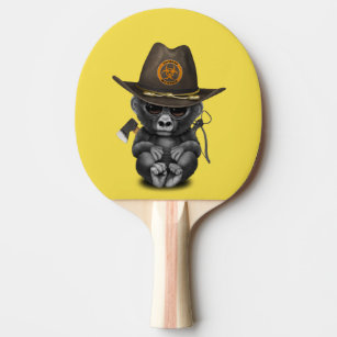 Baby Gorilla Zombie Hunter Ping Pong Paddle