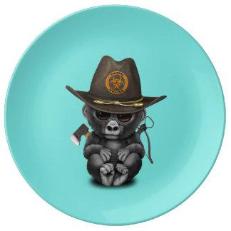 Baby Gorilla Zombie Hunter Porcelain Plates