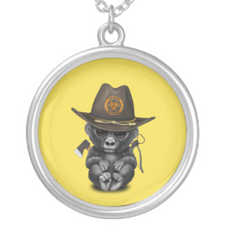 Baby Gorilla Zombie Hunter Silver Plated Necklace
