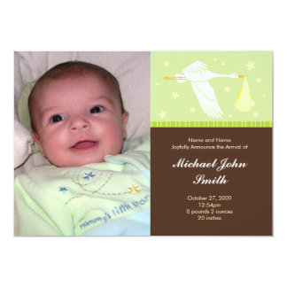 Baby Green and Brown - Medium Postage Stamp Card