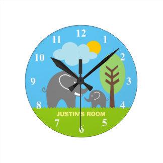 Baby grey elephant nursery wall clock for kids