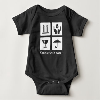 "Baby ""Handle with care"" Jersey Bodysuit, black Baby Bodysuit"