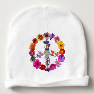 Baby hat, heart, peace sign photographs of flowers baby beanie