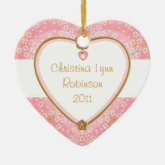 Baby Heart Photo Frame - Pink Floral Christmas Ornaments