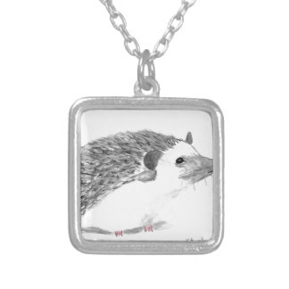Baby hedgehog animal silver plated necklace