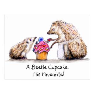 baby hedgehog with creepy crawly cupcake postcard