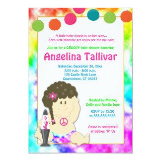 "Baby Hippie 60s 70s Groovy Baby Shower (Girl) 5"" X 7"" Invitation Card"