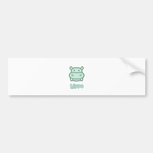 Baby Hippo Cartoon Bumper Sticker