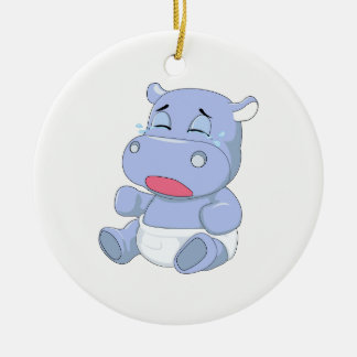 Baby Hippo Crying Ceramic Ornament