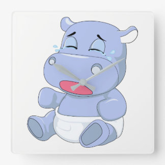 Baby Hippo Crying Square Wall Clock