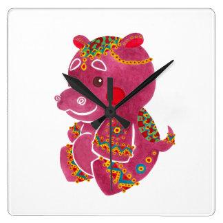 Baby Hippo Square Wall Clock