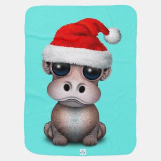 Baby Hippo Wearing a Santa Hat Baby Blanket