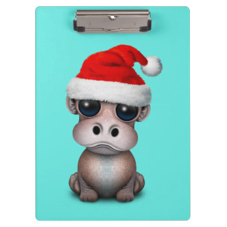 Baby Hippo Wearing a Santa Hat Clipboard