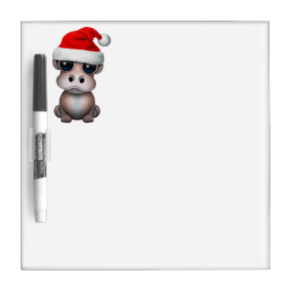 Baby Hippo Wearing a Santa Hat Dry Erase Board