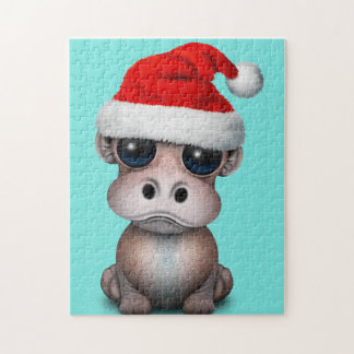 Baby Hippo Wearing a Santa Hat Jigsaw Puzzle