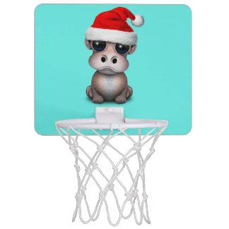 Baby Hippo Wearing a Santa Hat Mini Basketball Hoop