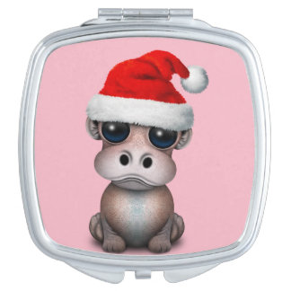 Baby Hippo Wearing a Santa Hat Mirror For Makeup