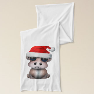 Baby Hippo Wearing a Santa Hat Scarf