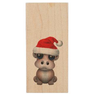 Baby Hippo Wearing a Santa Hat Wood USB Flash Drive