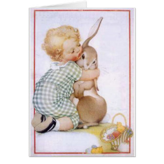 Baby hugging Easter Bunny Greeting Card