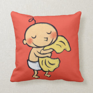 Baby Hugging Soft Yellow Blanket Cushion