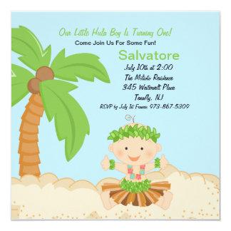 Baby Hula Boy First Birthday Invitation