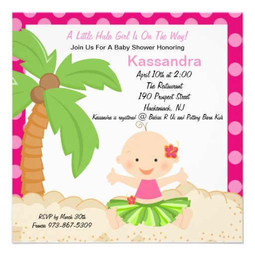 Baby Hula Girl  Baby Shower Invitation
