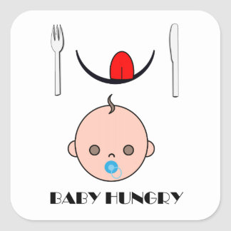 Baby Hungry Square Sticker