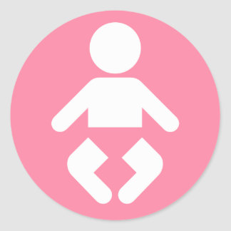 Baby Icon in pink Round Sticker