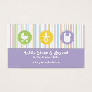 Baby Icon Trio Stripes Lilac Business Card