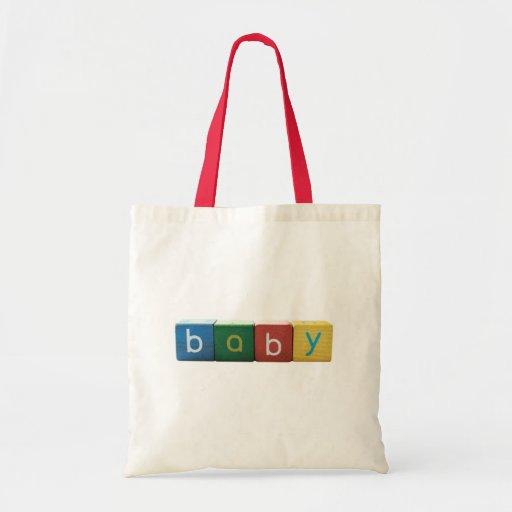 baby in blocks budget tote bag