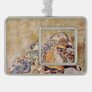 Baby in Brightly Colored Quilt Silver Plated Framed Ornament
