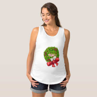 Baby in Christmas Wreath Maternity Singlet